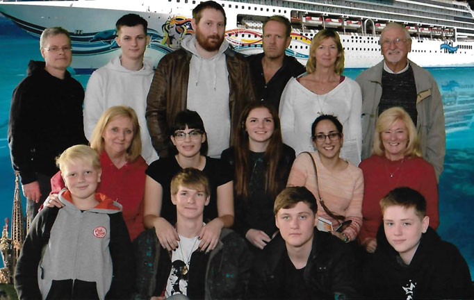 The Family off on a Cruise -  Mum and Dad, Two Daughters, Two Sons in Law, Six Grandsons and Three Girlfriends